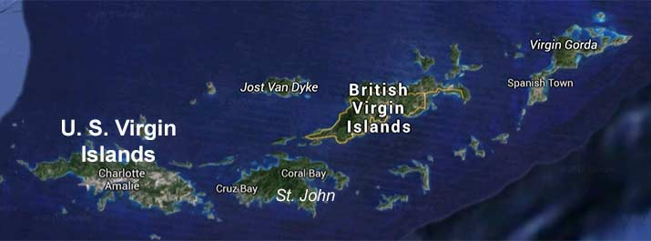 Virgin Islands Charter Boat Map